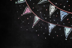 Bandiere del gesso di disegno sui precedenti neri Fotografia Stock