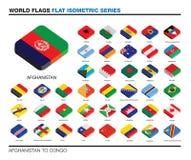 Bandiere del mondo, corrente alternata, progettazione piana isometrica dell'icona 3d Fotografie Stock Libere da Diritti