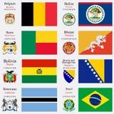 Le bandiere ed i capitali del mondo hanno messo 3 Immagine Stock
