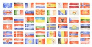 Bandiere del mondo dell'acquerello Immagine Stock Libera da Diritti