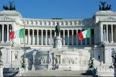 Bandiere del monumento di Altare Patria Italia di patria dell'altare Fotografia Stock Libera da Diritti