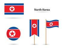 Bandiere del Nord Corea Fotografia Stock Libera da Diritti