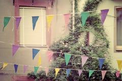 Bandiere del partito nel tono d'annata Immagini Stock