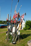 Bandiere del pescatore ed attrezzature di pesca Fotografia Stock Libera da Diritti