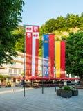 Bandiere del principato del Liechtenstein Fotografie Stock Libere da Diritti