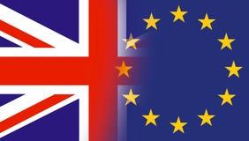 Bandiere del Regno Unito con le stelle della bandiera di Unione Europea La bandiera BRITANNICA e la bandiera di UE hanno mescolat illustrazione vettoriale
