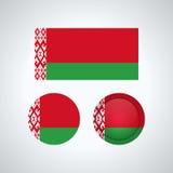 Bandiere del trio della Bielorussia, illustrazione di vettore Immagini Stock