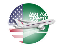 Bandiere dell'aereo, degli Stati Uniti e dell'Arabia Saudita Immagini Stock