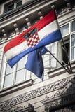 Bandiere dell'europeo e della Croazia Fotografia Stock Libera da Diritti