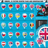Bandiere dell'indicatore delle icone europee e mappa rotonde Set1 Immagine Stock Libera da Diritti