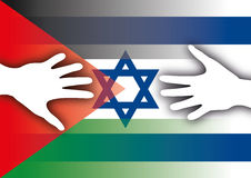 Bandiere dell'Israele e della Palestina con le mani Fotografia Stock