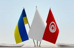 Bandiere dell'Ucraina e della Tunisia immagini stock