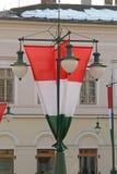 Bandiere dell'Ungheria Fotografia Stock Libera da Diritti