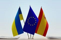 Bandiere dell'Unione Europea e della Spagna dell'Ucraina Fotografia Stock