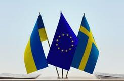 Bandiere dell'Unione Europea e della Svezia dell'Ucraina Immagini Stock Libere da Diritti