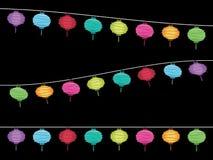 Bandiere della decorazione della lanterna Fotografia Stock Libera da Diritti