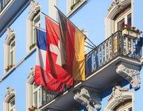 Bandiere della Francia, della Germania e della Svizzera Fotografia Stock