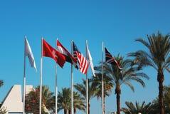 Bandiere della Gran Bretagna, U.S.A., Svizzera Fotografia Stock