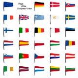 Bandiere della raccolta UE Fotografie Stock