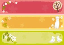 Bandiere della sorgente orizzontali Fotografie Stock