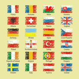 Bandiere 2016 delle icone di calcio della Francia dei paesi partecipanti Fotografia Stock
