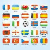Bandiere 2016 delle icone di calcio della Francia dei paesi partecipanti Fotografia Stock Libera da Diritti