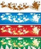 Bandiere delle renne e della Santa Fotografia Stock