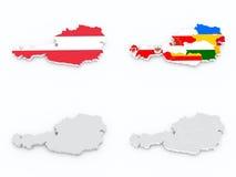 Bandiere dello stato dell'Austria sulla mappa 3D Fotografie Stock Libere da Diritti