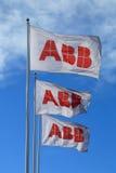 Bandiere di ABB contro cielo blu Fotografia Stock Libera da Diritti
