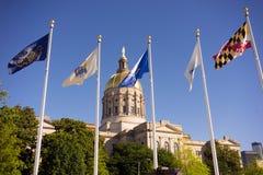 Bandiere di architettura della città di Atlanta Georgia State Capital Gold Dome Fotografie Stock Libere da Diritti
