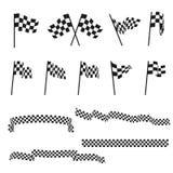 Bandiere di automobilismo ed insieme a quadretti in bianco e nero di vettore del nastro di rifinitura illustrazione di stock