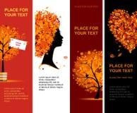 Bandiere di autunno verticali per il vostro disegno Immagine Stock Libera da Diritti