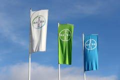 Bandiere di Bayer contro cielo blu Fotografia Stock Libera da Diritti