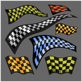 Bandiere di corsa a quadretti - insieme di vettore Immagine Stock Libera da Diritti