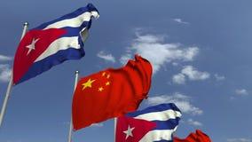 Bandiere di Cuba e della Cina contro cielo blu, rappresentazione 3D royalty illustrazione gratis