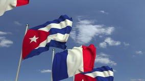 Bandiere di Cuba e della Francia contro cielo blu, rappresentazione 3D illustrazione di stock
