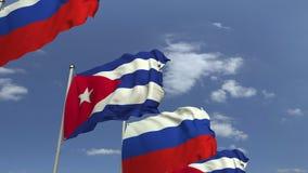 Bandiere di Cuba e della Russia contro cielo blu, rappresentazione 3D illustrazione di stock