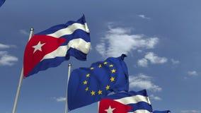 Bandiere di Cuba e l'Unione Europea contro cielo blu, rappresentazione 3D illustrazione di stock