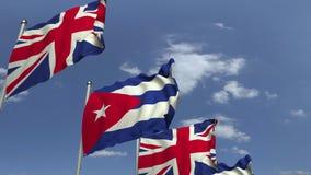 Bandiere di Cuba ed il Regno Unito contro cielo blu, rappresentazione 3D royalty illustrazione gratis