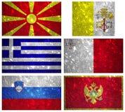 Bandiere di Europa del sud 2 Fotografie Stock