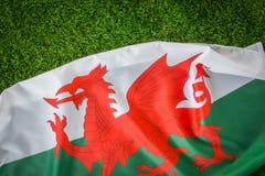 Bandiere di Galles su erba verde Fotografia Stock