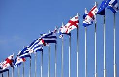 Bandiere di Georgia, di Adjara e di Unione Europea Fotografia Stock