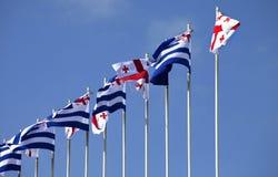 Bandiere di Georgia e di Adjara Immagini Stock
