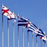 Bandiere di Georgia e di Adjara Immagine Stock