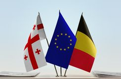 Bandiere di Georgia European Union e del Belgio Immagini Stock