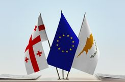 Bandiere di Georgia European Union e del Cipro Fotografie Stock