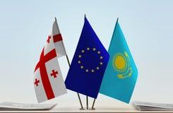Bandiere di Georgia European Union e del Kazakistan Immagine Stock Libera da Diritti