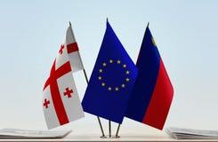 Bandiere di Georgia European Union e del Liechtenstein Fotografia Stock Libera da Diritti