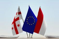 Bandiere di Georgia European Union e del Monaco Fotografie Stock Libere da Diritti