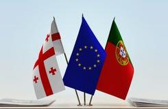 Bandiere di Georgia European Union e del Portogallo immagini stock